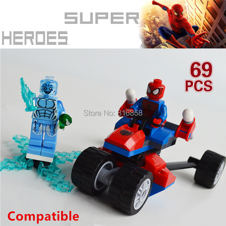 Marvel Super Heroes Spiderman Vehicle Bricks Spider Man Blocks Building Toys Mini Figures Compatible Lego Particles - Angela Loves Baby store
