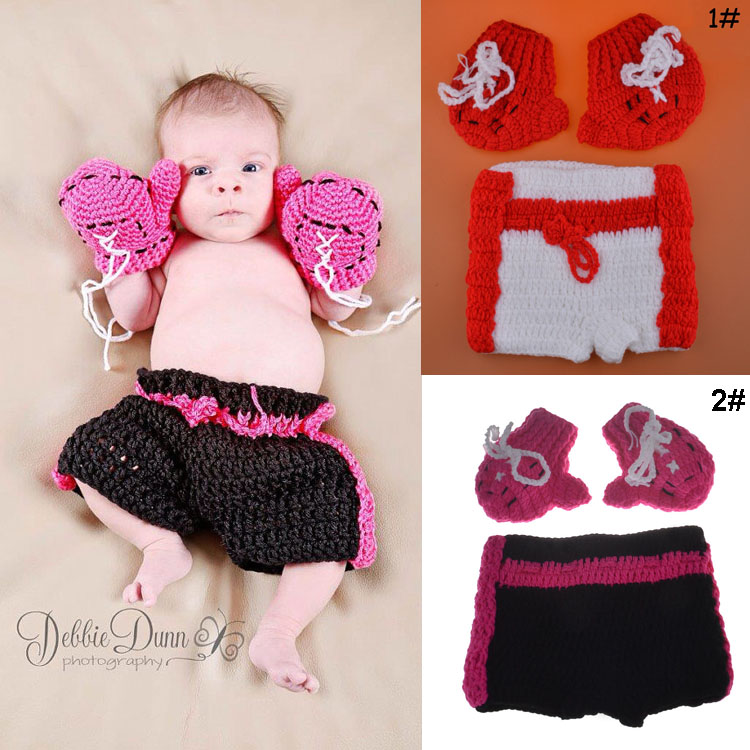 Lasted Boxing Man Baby Photo Props Handmade Knitted Infant Baby Gloves+Shorts Set Newborns Photography props 1set MZS-15029(China (Mainland))