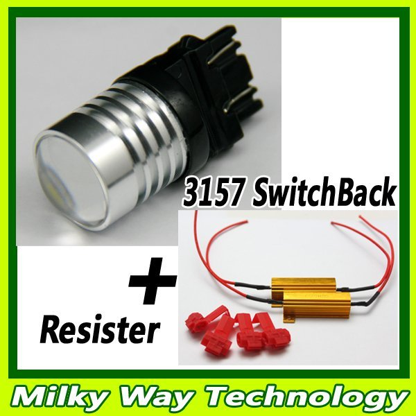 2 x 3157 SRCK High Power Switchback LED Turn Signal stop Lights Bulbs white&amber +Resistors 2p,#LX06009
