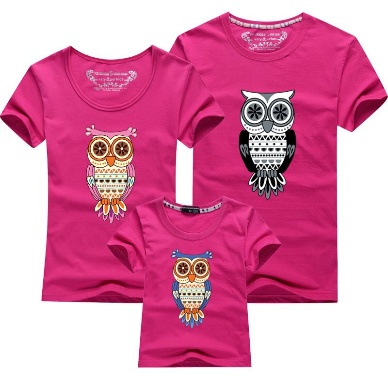 2015 new summer family tees cartoon owl kids t shirts cotton short-sleeved family clothes dad mum baby fqz013(China (Mainland))