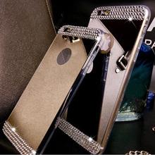 Горный хрусталь алмаз зеркало тпу мягкий гель шику чехол для Samsung Galaxy S5 S6 S6 края плюс примечание 4 примечание 5 A5 A7 A8 задняя крышка