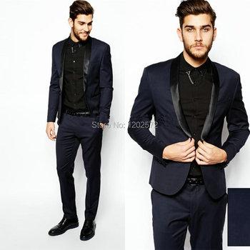 Мужчины официальный костюмы синий морской синий бизнес костюм мужчины свадьба костюмы мужские смокинг стиль мужские пром смокинг пальто + брюки