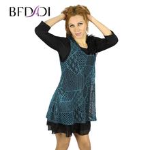 BFDADI 2016 новый поступлениес с v-образным вырезом 3/4 рукав пояса сдвоенными рубашка и платья с кружевами красочные платья большой размер 5xl бесплатная доставка 3352(China (Mainland))