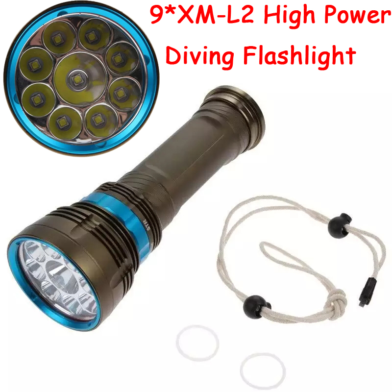 Фотография 90W 3-Mode 18000 Lumen CREE XM-L2 9 x L2 LED Diving Flashlight Torch 200M Underwater Waterproof LED Flash Light Lantern