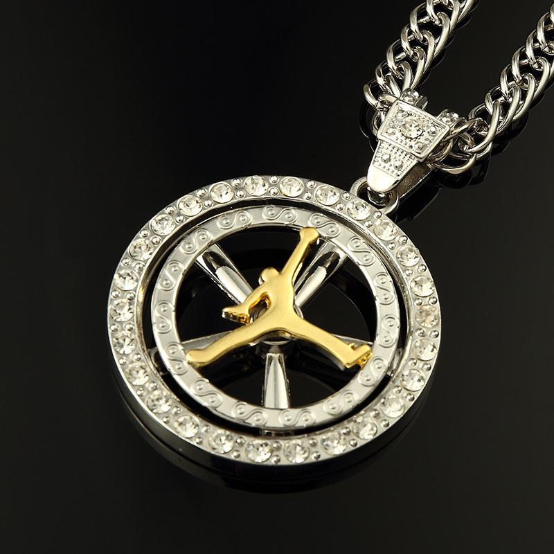 Hiphop fashion Elegant gold statement necklace for women men chain Jordan figure pendats Necklace channel for unisex pendant<br><br>Aliexpress