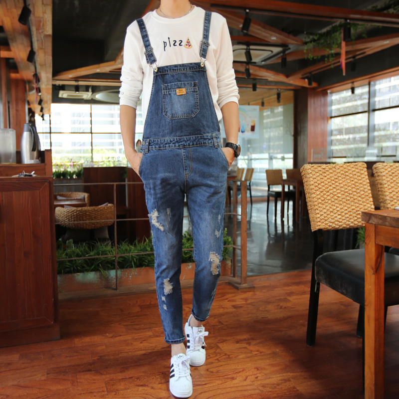2016 New Brand Mens Blue Bib Skinny Overall Jeans For Men Suspender Pants Male Ripped Denim Jumpsuit One Piece Одежда и ак�е��уары<br><br><br>Aliexpress