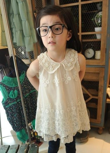 freeshipping  new arrival hot sell kids lace dresses,girls beautiful Pearl collar lace embroidery thin vest dress,5pcs/lot