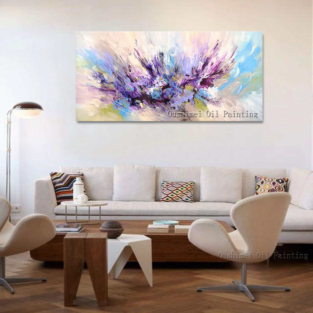 2015 New Design Handmade Beautiful Colors Purple And Pink Oil Painting On Canvas Abstract Artwork For Living Room Decoration(China (Mainland))