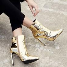 Zilver Lakleer Enkellaarsjes 10.5 cm Hoge Hakken Laarzen Vrouwen Winter Schoenen Vrouwelijke Wees Teen Botas Vrouw Lente Herfst laarzen(China)