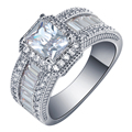 2016 Square promise Rings new silver plated jewelry large size 7 8 9 White Cubic Zircon