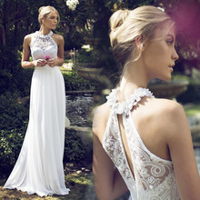 New Arrival A Line Wedding Dresses 2017 Halter Appliques Long Chiffon Bridal Gowns(China (Mainland))