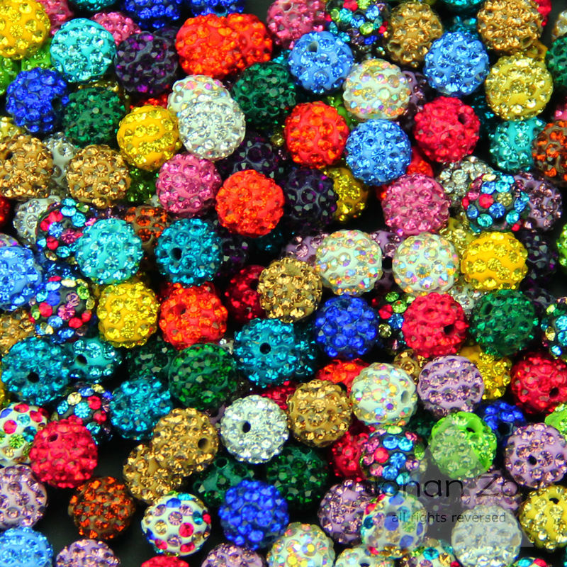 Wholesale 10MM 20pcs Clay Disco Ball Pave Crystal Shamballa Beads High quality Fashion Loose bead Jewelry necklace bracelet DIY()