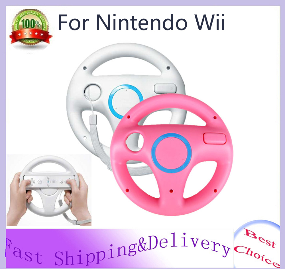 2 x pcs Pink&White Steering Mario Kart Racing Wheel for Nintendo Wii Remote Game Hot Sale Wholesale(China (Mainland))