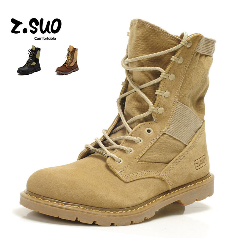 Original Z.Suo Brand 2016 New Genuine Leather Special Force Men Military Combat Boots Patchworks Mid-calf Zapatos Hombre - CuddlyPanda Store store