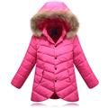 Factory Outlet 2016 autumn and winter Children Long down Coat Girls Down jacket Coats Big Fur