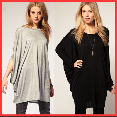 2014 Autumn Casual Women tshirt XL O neck Bat T Shirts breathable long loose Tops Tees Black - beautifulforever store