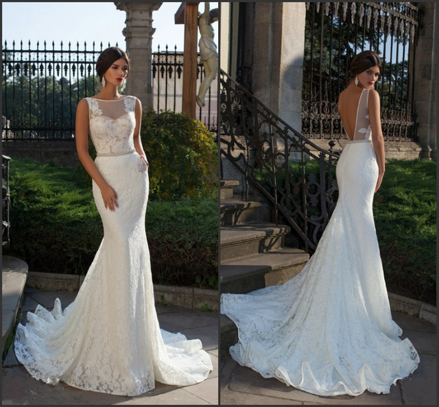 Bride Fish Tail Wedding Dress Elegant Lace Mermaid Wedding Dresses Sexy Backless Vestidos De Noiva 2016