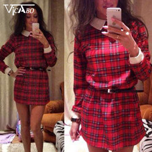2016 Slim Women Long Sleeve Shift Dress Tartan Check Tunic Party Short Mini Dresses Bodycon Frock Long Blusas Shirt Dresses