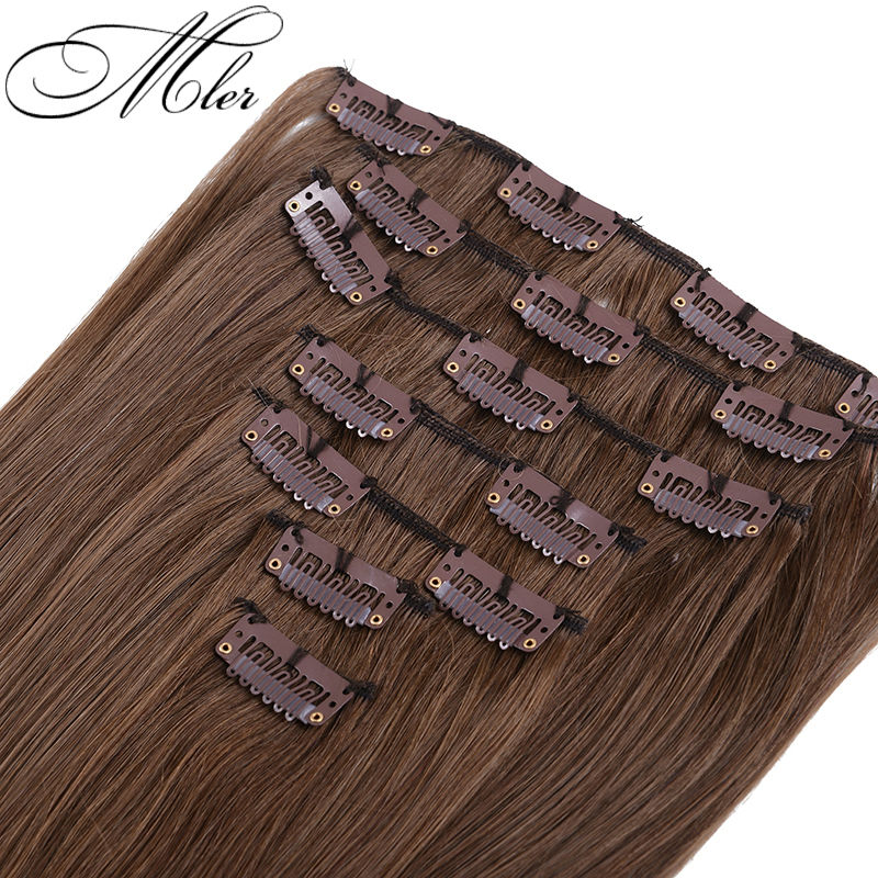 Brazilian Virgin Hair Clip Extension 70g 7Pcs/Set Straight #6 Color Human - Meileer Products Co., Ltd. store