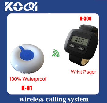 Emergency call system wireless beeper of 2pcs watch pagers for nurse and 15pcs Sick Call Bell 100% waterproof
