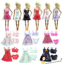 free shipping 6sets lace Sexy Pajamas set Lingerie Nightwear Lace Night Dress + Bra + Underwear bikini For Barbie Doll gift set(China (Mainland))