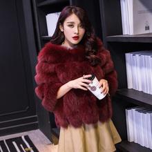 Black Winter Faux Fox Fur Jacket Fourrure Women's Fake Fur Overcoat Plus Size 4XL 6XLWaistcoat Pelliccia Winter Coat Fur Jacktes(China (Mainland))