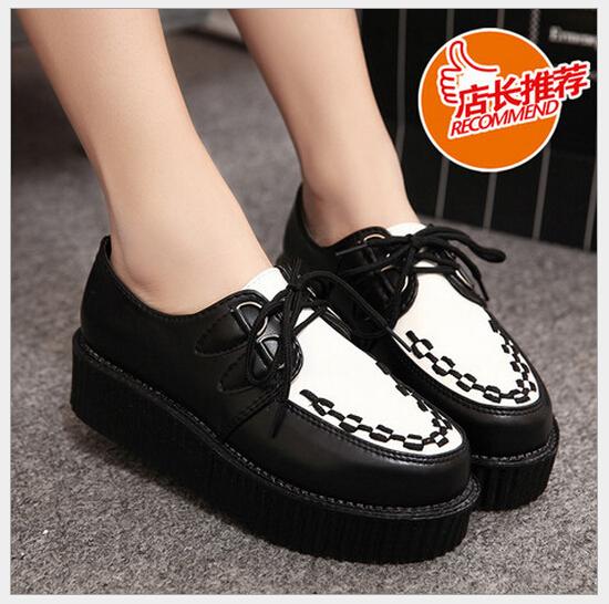 2014 brand vintage platform creepers flat shoe
