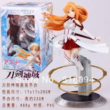 Free Shipping Japanese Anime Sword Art Online Asuna PVC Action Figure Toy 22cm Cute Aincrad Figure SOFG003