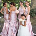 Sexy One the Shoulder Lace Pink Mermaid Bridesmaid Dresses 2016 Custom Made long Women Cheap Vestido