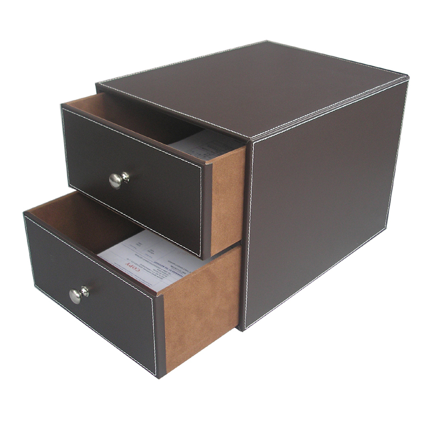 brown 2 drawer leather office desk file cabinet organizer With document organizer box
