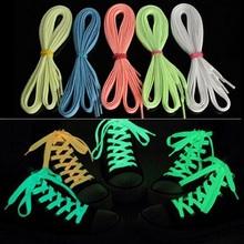 cordones zapatos140cm fluorescent shoelace One Pair Flat Luminous Light Sneaker Lace Glow Shoelaces Boot Trainer Shoes(China (Mainland))