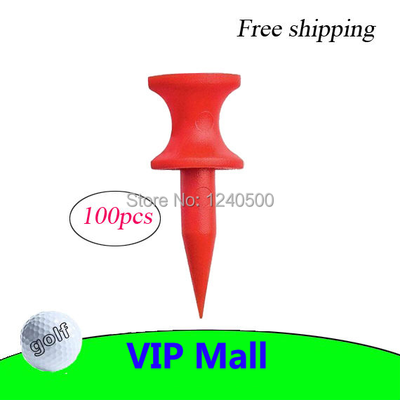 Free Shipping Brand New 100Pcs/Pack Double-deck Golf Tee Golf Ball Tees 30MM - Red(China (Mainland))