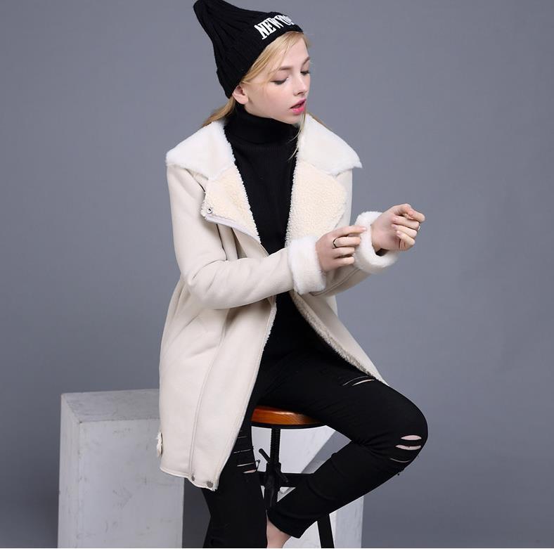 UUV Brand Long Sheepskin Beige Suede Cloak  Winter Jacket Women Lapel Thick Warm Women's Coats Overcoat Jaqueta JS130300610