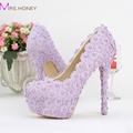 Purple Color Wedding Shoes Lady Beautiful Elegant Bridal Dress Shoes Round Toe Spring Graduation Partty Pumps