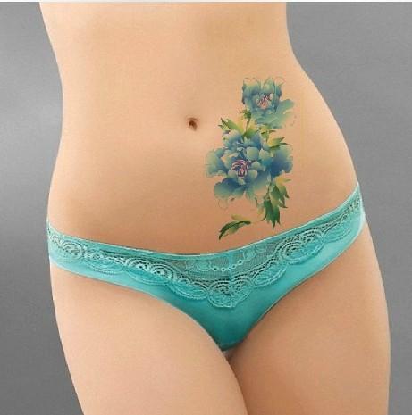 Teasing poppy temporary fake tattoos stickers body art for Fake body tattoos