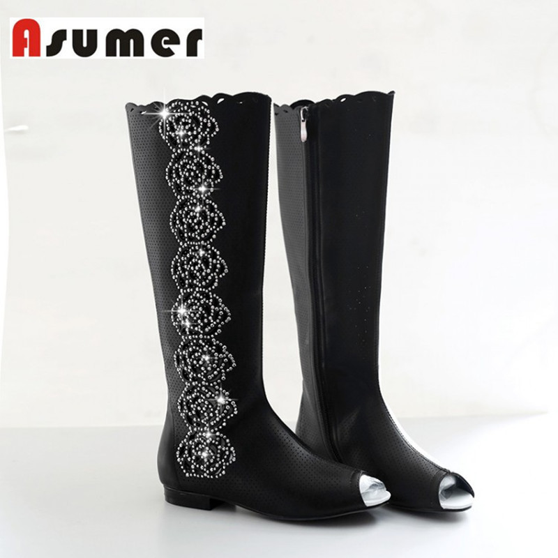2016 new summer fashion boots peep toe cut outs knee