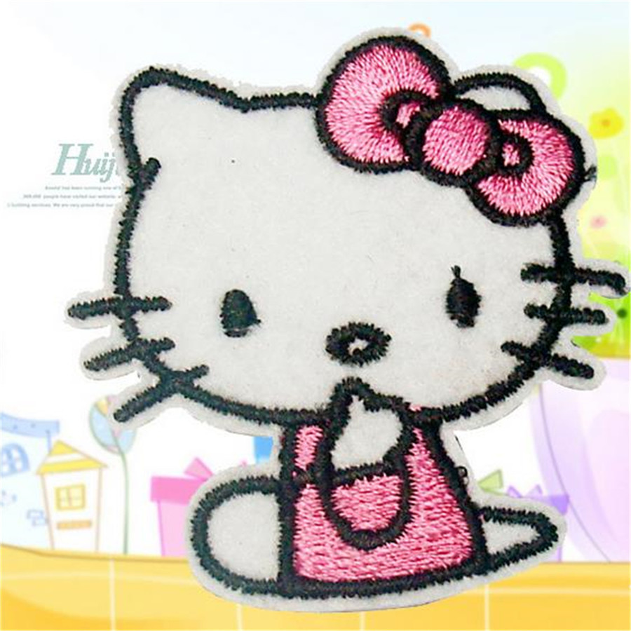 Free shipping Kids clothing Pink Hello Kitty logo patch cute iron on patches for clothing fashion fabric DIY (8*6cm)(China (Mainland))