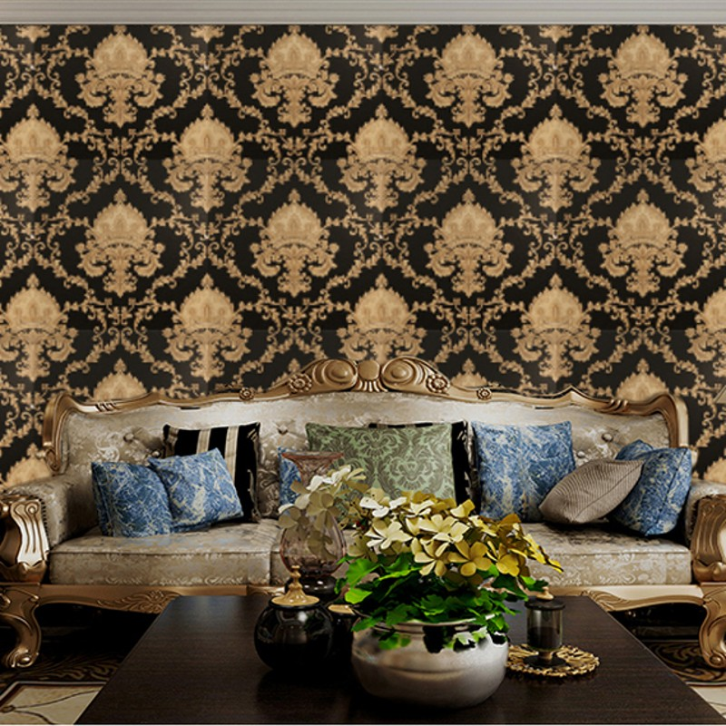 Damask wallpaper roll black and white classic home decor for Black white damask wallpaper mural
