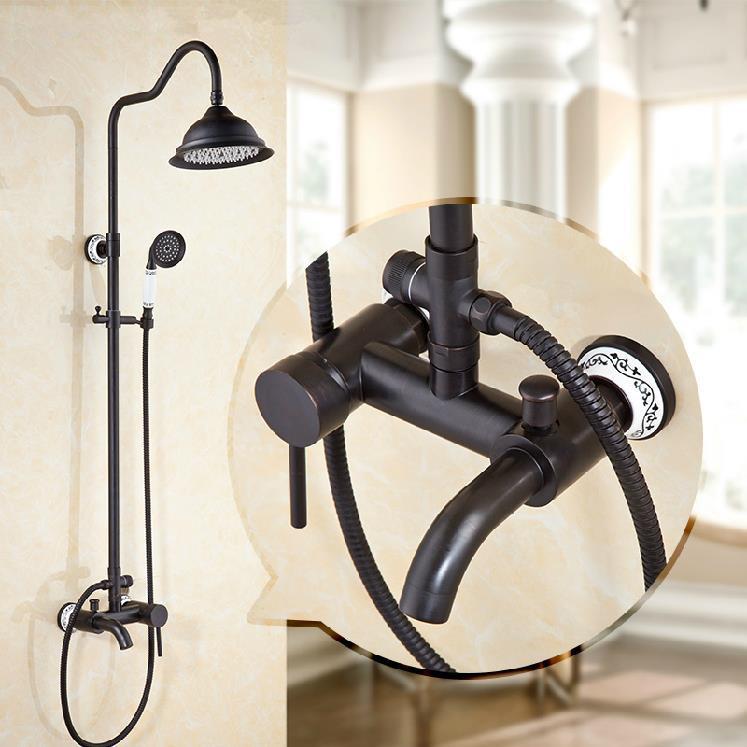Black Antique Brass Wall Mounted Mixer Valve Rainfall Shower Faucet Complete