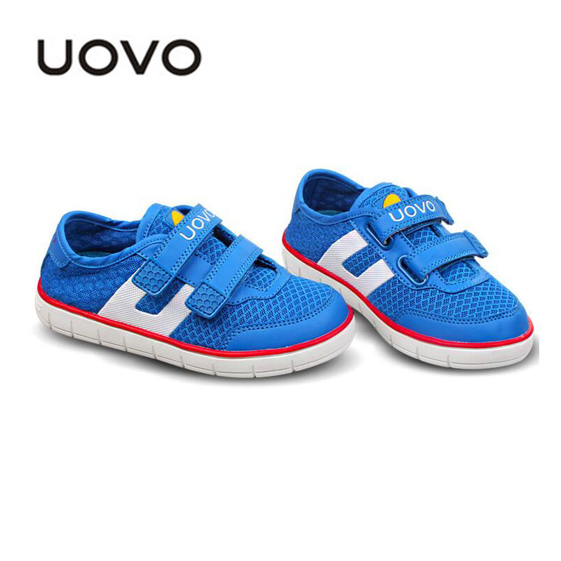 Uovo Kids Spring Autumn Breathable Mesh Shoes Boys Girls Soft Sport Sneakers Flat Casual Children Loafers Blue Red Color 27-35 - QL KIDS LOVE store