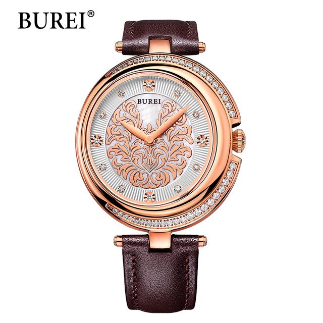 BUREI Женщин Часы Лучший Бренд Женские Часы Новый Специальный Дизайн Сапфир Лен Часы Водонепроницаемые Ремешок Из Телячьей Кожи Writwatches Горячей Продажи