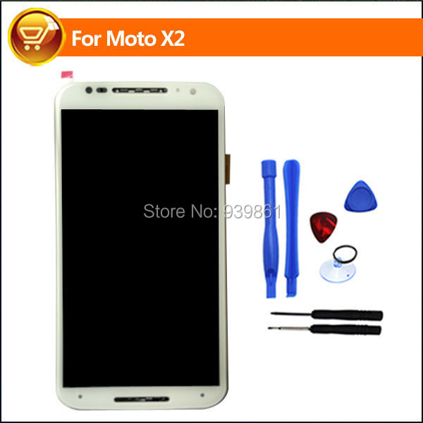 White For Motorola MOTO X+1 X2 XT1092 XT1095 XT1096 XT1097 LCD Display With Touch Screen Digitizer Assembly With Frame,Free Ship