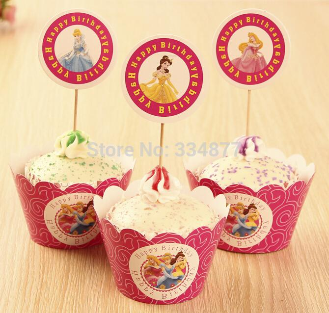 New princess cartoon cupcake wrappers toppers 24 pcs lot for New home cupcake decorations