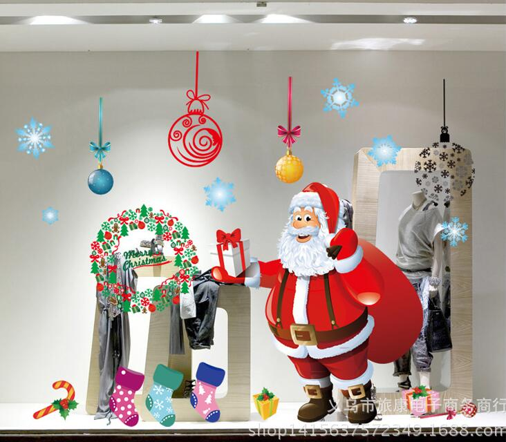 Happy New Year Decoration Home Decor Wall Sticker Decals Pvc Window Showcase Merry Christmas