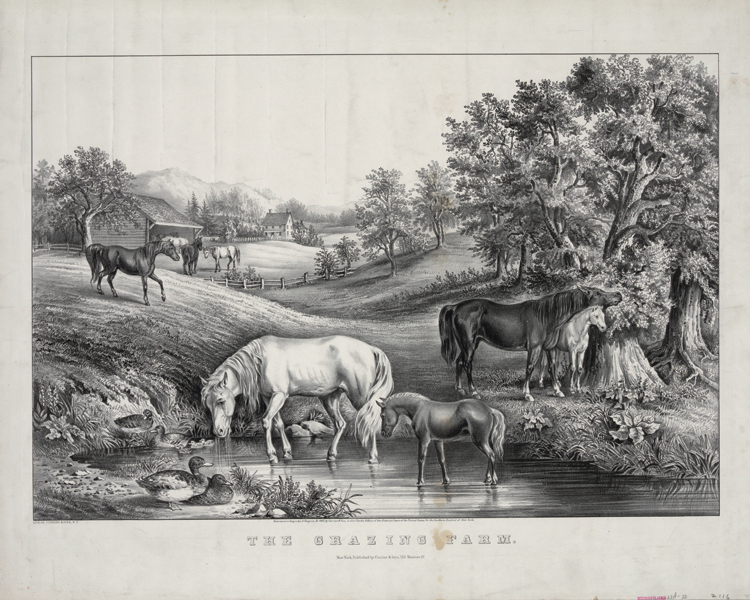 vintage poster hand drawing prints on canvas scenery painting black and white pictures wall art animal picture the grazing farm(China (Mainland))