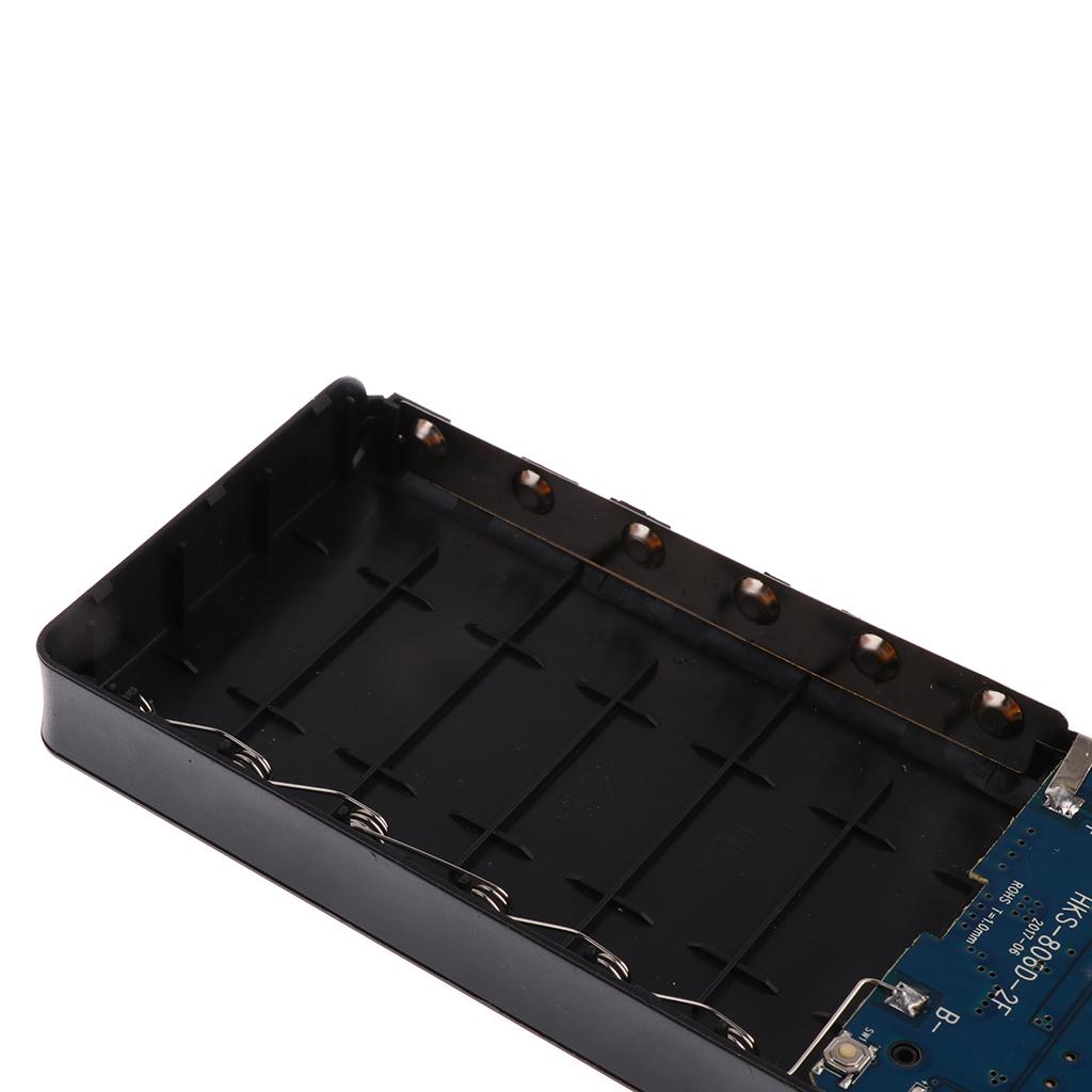 Lovoski 2 USB Port 6 X 18650 Power Bank Battery Box Charger For iPad