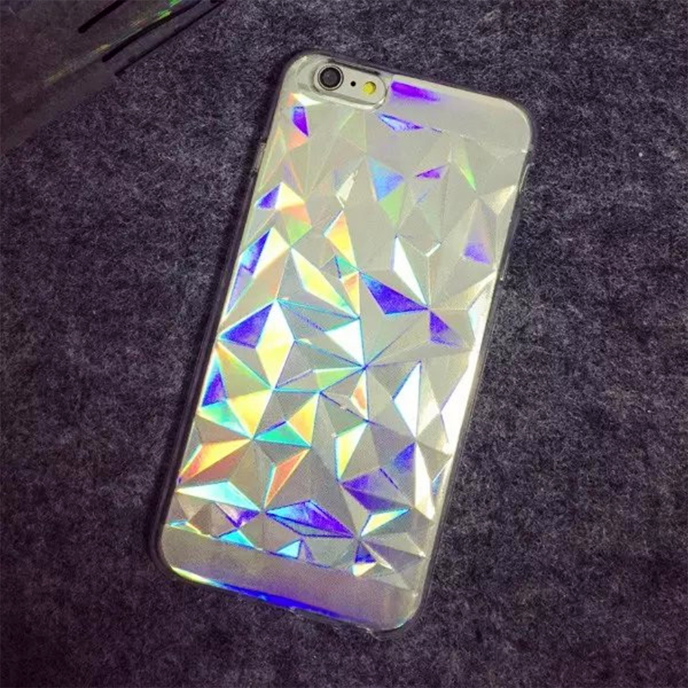 2016 Unique Laser Style Rainbow Color 3D Diamond/3D Melting Pattern Mobile Phone Protection Cover For iPhone 6/6S/6 Plus(China (Mainland))