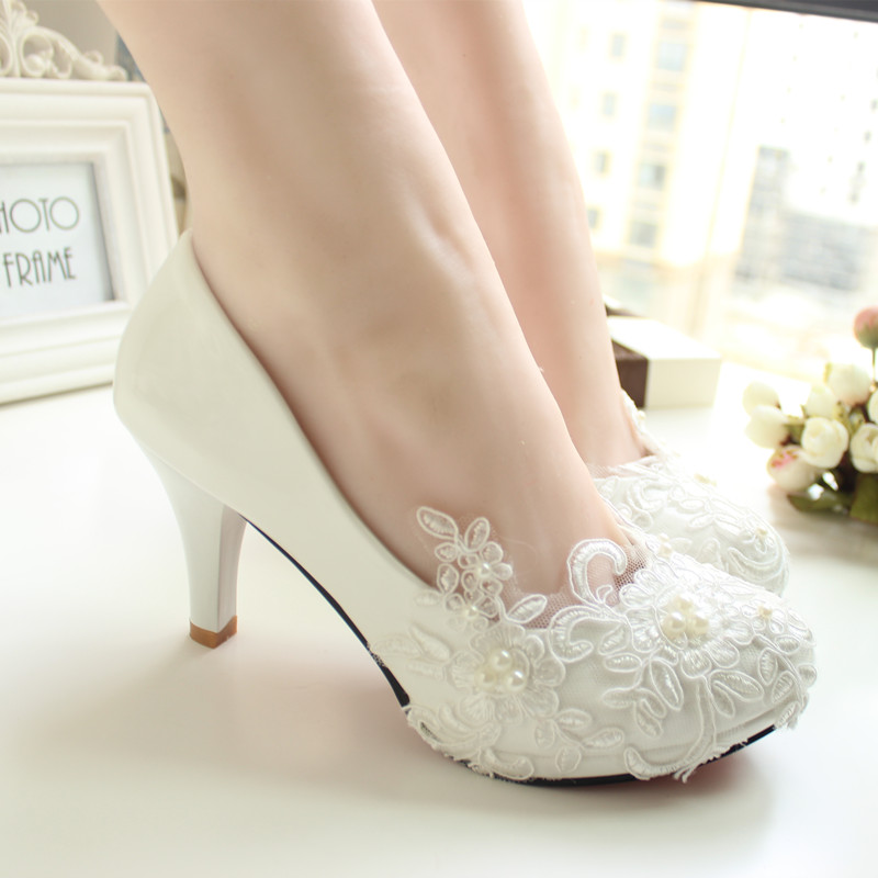 Handmade lace wedding shoes white bridal shoes bridesmaid shoes banquet dress shoes women pumps 8.5cm large size 41-42(China (Mainland))