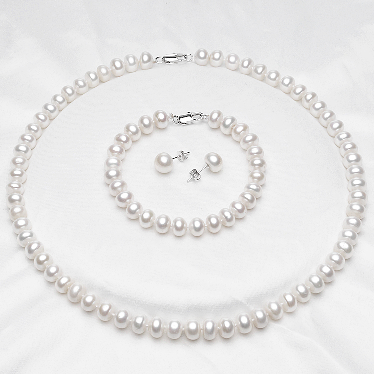100% Natural Freshwater Pearl Jewelry Sets For Women's 7-8mm White Natural Pearls 925 Sterling Silver Earrings Fine Jewelry(China (Mainland))