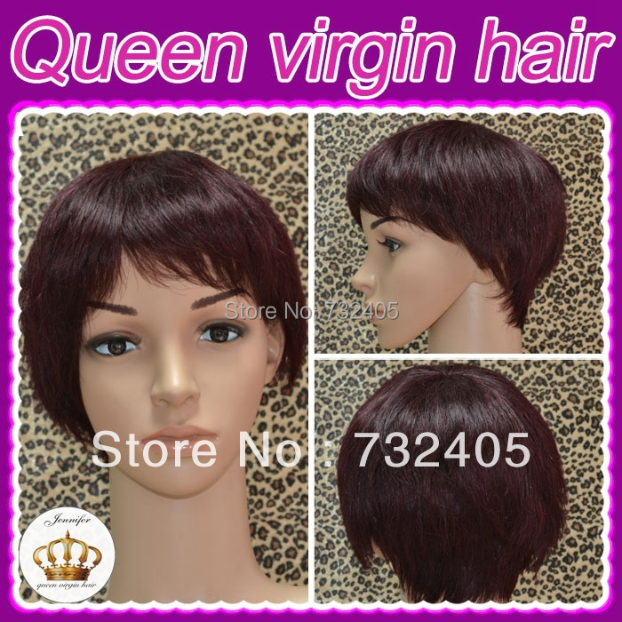 Indian Real Hair Wig Natural Straight Hair Short Cut Color 2G Burgandy Guangzhou Queen Hair DHL Freeshipping(China (Mainland))